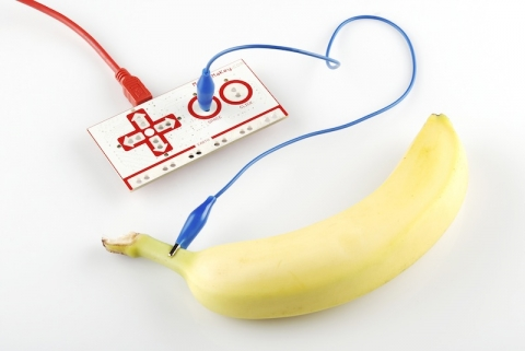 makey makey circuit connected to a banana